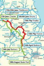 'Cressy's' route in the 1940s, also the route of the 'Heron' in 2010 - click for a larger map